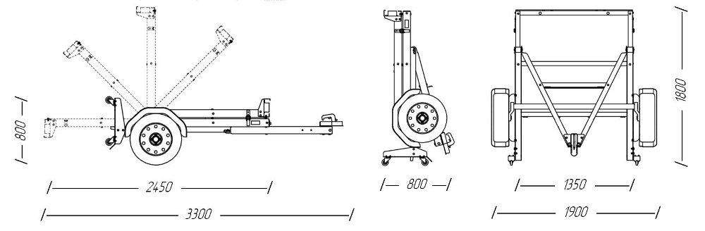 Складной одноосный прицеп для перевозки мототехники (мотоцикла, квадроцикла, груза до 550 кг)