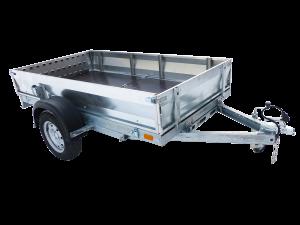 Прицеп Rafer - складной, с бортами из оцинкованной стали. Предназначен для перевозки техники (мотоцикла, квадрацикла) и грузов массой до 550 кг.