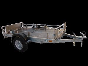 Прицеп Rafer - складной, с ограждением из нержавеющей стали. Предназначен для перевозки техники (мотоцикла, квадрацикла) и грузов массой до 550 кг.